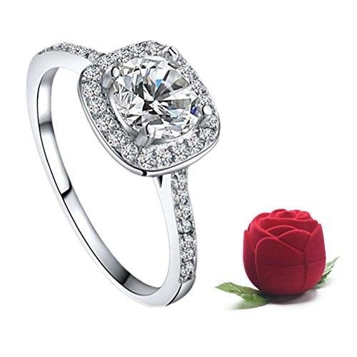 Women's Elegant Inlaid Zircon Cushion Cut Halo Engagement (Band Cushion Ring)