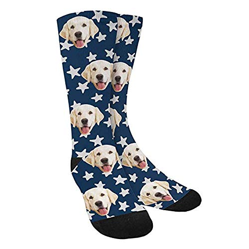 Dog Print Custom - Custom Print Your Photo Dog Socks, Custom Stars, Dark Blue Background Crew Socks Unisex
