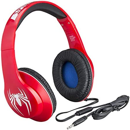 Spiderman Kids HeadphonesMicrophone Adjustable Headband Stereo Sound 3.5mm Jack Wired Headphones For Kids Tangle-Free Volume Control Foldable Childrens Headphones on ear School Home Tr