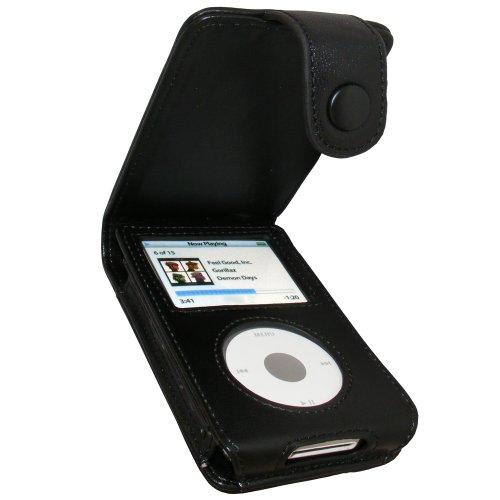 igadgitz echtes Leder Tasche Schutzhülle Etui Case Hülle aufklappbar in Schwarz für Apple iPod Classic 80gb, 120gb & 160gb + abnnehmbare Gürtelbefestigung + Display Schutzfolie