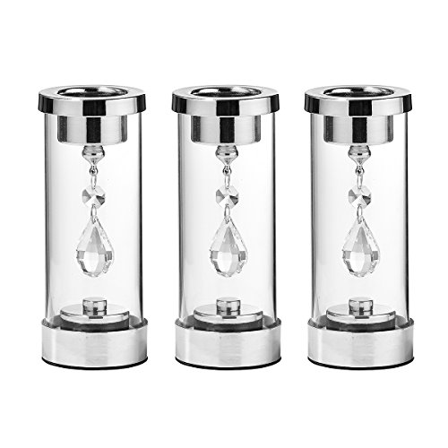 Crystal Hurricane (Candle holder With Crystal Pendant Set of 3, Winjoy Home Décor Hurricane Candleholder, Votive Candle Holders With Glass Cylinder For Tea Light (Silver))