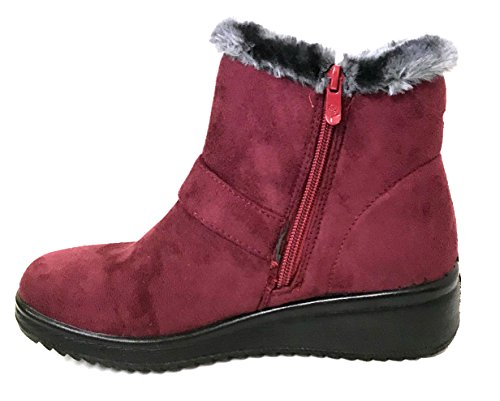 Red G4UMM Fashion Shoes Faux Women's Brown Warm Winter Ankle 2 Boots Black Red Fur Suede Lined Zipper rHq1OF