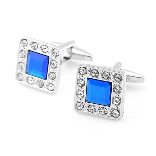 PenSee Boutons de manchette en forme de diamant Bleu artificiel pour homme avec coffret cadeau