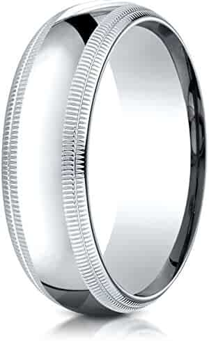 Benchmark Platinum 7mm Slightly Domed Standard Comfort-Fit Wedding Band Ring with Double Milgrain