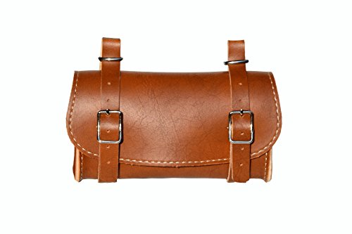Rear Saddle Bicycle Bag Classic. Bike pannier. Cycling storage. Vintage Style. Simil Leather. Color Honey. 100% MADE IN ITALY by ITALY 74