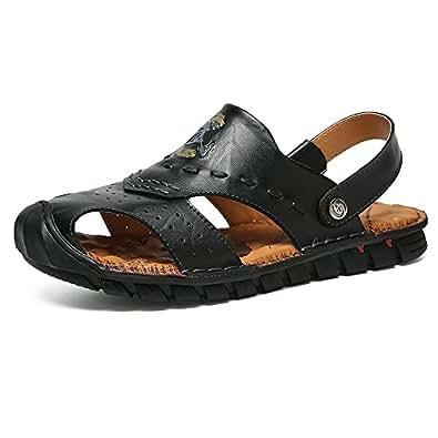 2018 Men's Genuine Leather Beach Non-Slip Summber Sandals Shoes Adjustable Backless (Color : Black, Size : 5.5 UK)