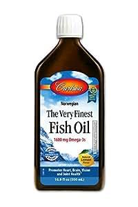 Carlson The Very Finest Fish Oil, Lemon, Norwegian, 1,600 mg Omega-3s, 500 mL