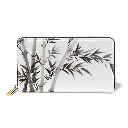 (Women's Long Leather Card Holder Purse,Traditional Bamboo Leaves Meaning Wisdom Growth Renewal Unleash Your Power Artprint,Elegant Clutch Wallet)