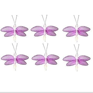 Superb Dragonfly Decor 2u0026quot; Purple Lavender Mini X Small Glitter Nylon Mesh  Dragonflies 6 Piece