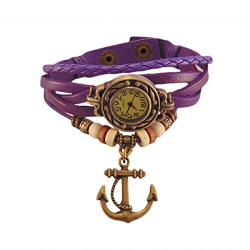 Habors Multiband Watch Purple Bracelet With Anchor charm for Girls