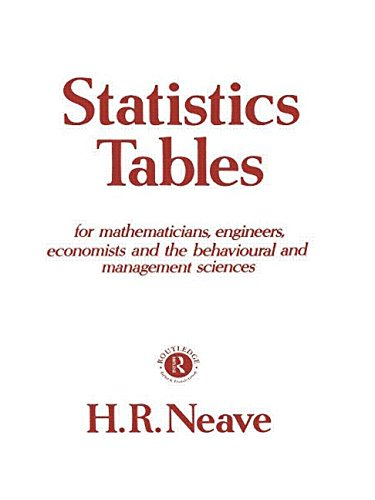Statistics Tables: For Mathematicians, Engineers, Economists and the Behavioural and Management Sciences