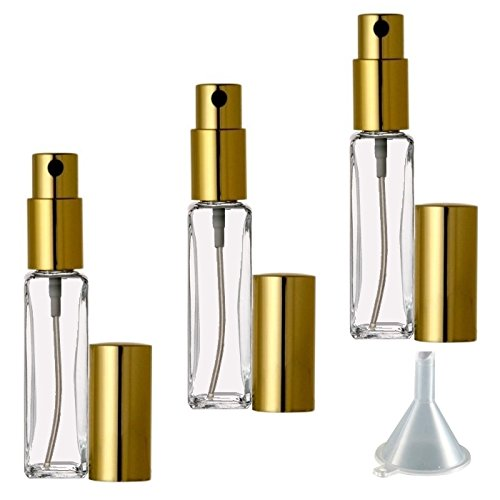 Riverrun Small Travel Perfume Atomizer Empty Refillable Slim Glass Bottle Gold Sprayer 1/4 oz 7.5ml (Set of 10)