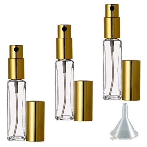 Riverrun Small Travel Perfume Atomizer Empty Refillable Slim Glass Bottle Gold Sprayer 1 4 oz 7.5ml Set of 10
