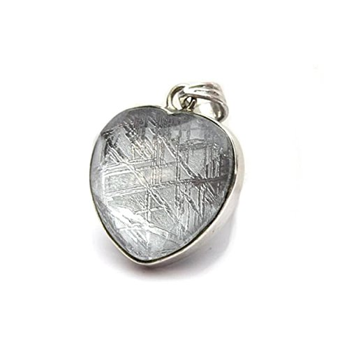 Genuine Natural Gibeon Iron Meteorite Love Heart Shape Silver Woman Mens Necklace Pendant by LiZiFang