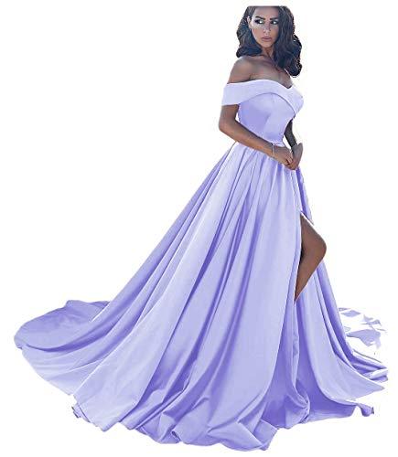 - Dressesonline Women's Off The Shoulder A Line Split Prom Evening Dresses Long Formal Gown US18W Lilac