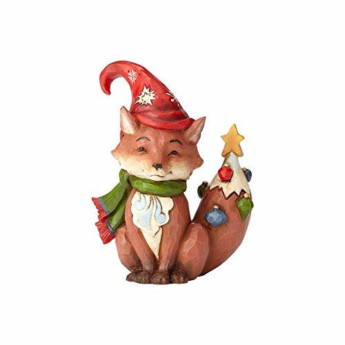 "Enesco Jim Shore Heartwood Creek Mini Christmas Fox Stone Resin, 3.75"" Figurine"