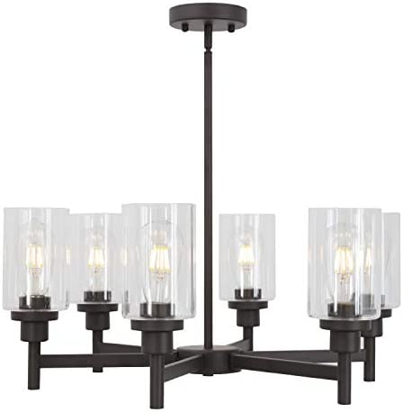 VINLUZ 6 Light Farmhouse Chandelier Classic Pendant Lighting Oil-Rubbed Bronze Industrial Ceiling Lighting Fixture