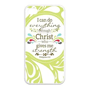 iPhone 4/4S Case, Bible Verse Philippians 4:13 Hard TPU Rubber Snap-on Case for iPhone 4 / 4S by ruishername