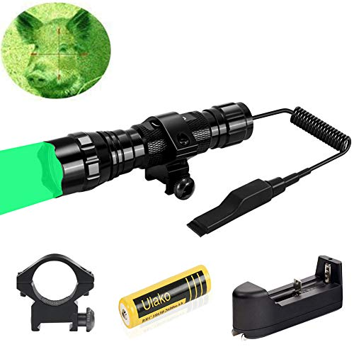Ulako Green Light LED Coyote Hog Pig Varmint Predator Hunting Light Flashlight with Remote Pressure Switch
