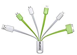 [Only Charging] Multi USB Cable,Chafon 6 in 1 Multi Cable with 8 Pin Lightning /30 Pin/2 Micro USB /Mini USB Ports for Universal Charging Use(Green+white)