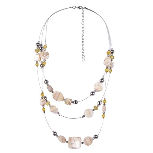 (D EXCEED Multi Layered Shell Beaded Glass Necklace Ivory Brown Illusion Costume Jewelry for Women 16-20)
