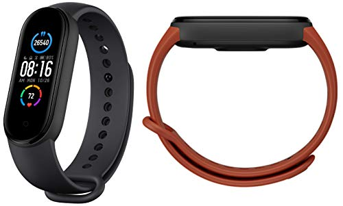 Mi Smart Band 5 (Black) + Additional Strap Orange