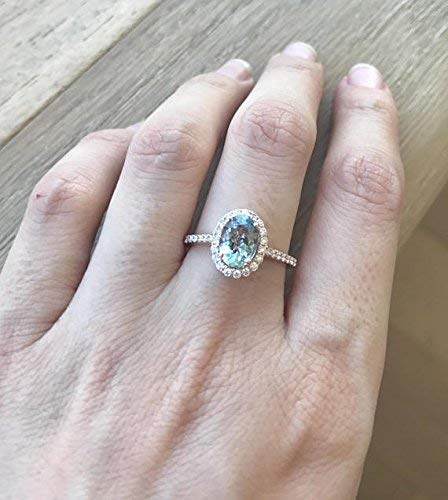 March Birthstone AQUAMARINE DIAMOND ENGAGEMENT Ring Sterling Silver Ring,Promise Ring for Her... Aquamarine Ring