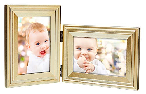 YoMee Vertical Horizontal Combo, Double 4x6 Gold Wood Folding Collage Picture Frames - Portrait and Landscape View