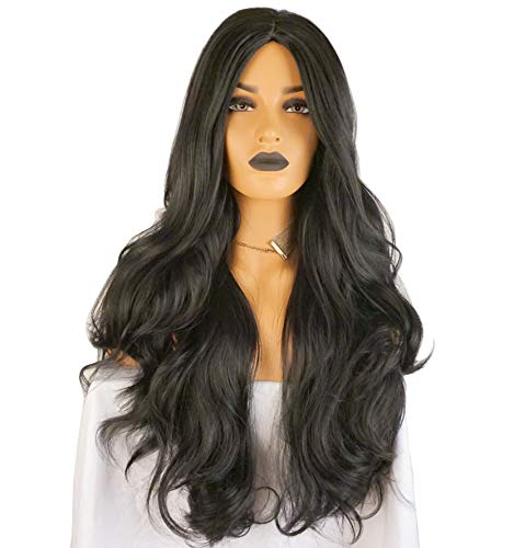 Wigbuy Synthetic Wigs for Women Super Natural Long Wavy Curly Side Part Heat Resistant Fiber Natural Black 29.5 inches Hair for Women (S-Bangs)]()
