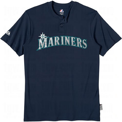 Seattle Mariners (YOUTH XL) Two Button MLB Officially Licensed Majestic Major League Baseball Replica Jersey
