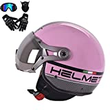 SOGG Retro Harley Helmet 3/4 Open Face Motorcycle Helmets Enduro Off-Road Helmet D.O.T Certified Dual Visor Fly Racing Motocross Half Helmet,Pink,L