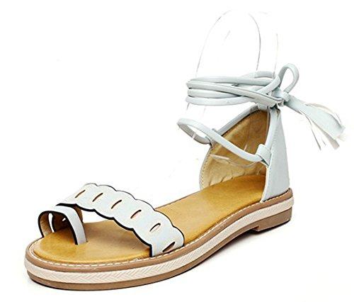 Aisun Sandales Cheville Plat Talon Bleu Orteil Mode Bride Femme gq6wrUg