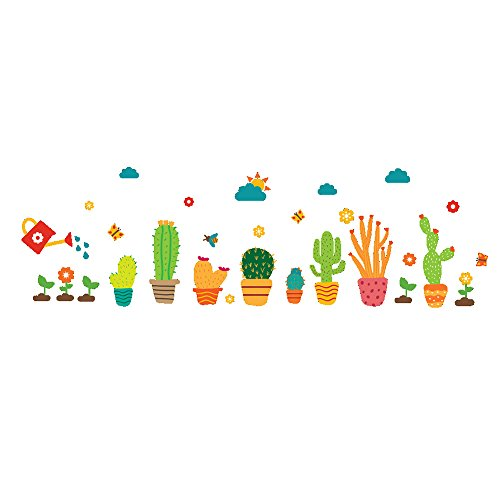 Winhappyhome Cactus Wall Art Stickers for Kids Room Living R