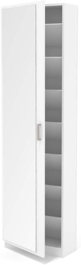 Mueble Armario Blanco Dormid/án- Zapatero con Espejo 1 Puerta Gran Capacidad