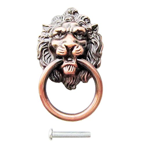 Vintage Lion Head Pull Handles Door Cabinet Dresser Drawer Knob Red Brass ()