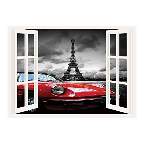 SCOCICI Peel and Stick Fabric Illusion 3D Wall Decal Photo Sticker/Red and Black,European Honeymoon Romantic City Paris Eiffel Tower Italian Car,Charcoal Grey and White/Wall Sticker Mural