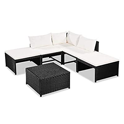 K&A Company Outdoor Furniture Set, 6 Piece Garden Lounge Set with Cushions Poly Rattan Black