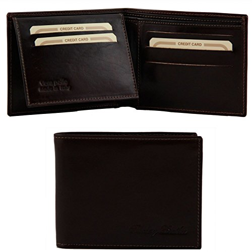 Brown wallet Dark 3 Leather leather men Tuscany Brown Exclusive for fold Dark xnPOFFCwT