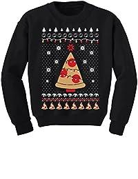 TeeStars - Pizza Ugly Christmas Sweater Xmas Pizza Tree Youth Kids Sweatshirt