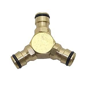 adheretofly Válvula de manguera de conector rápido manguera de jardín divisor de grifo de latón, Diameter 16 mm
