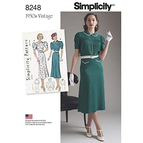 (Simplicity Pattern 8248 D5 Misses' Vintage 1930s Dresses, Size D5 (4-6-8-10-12) )