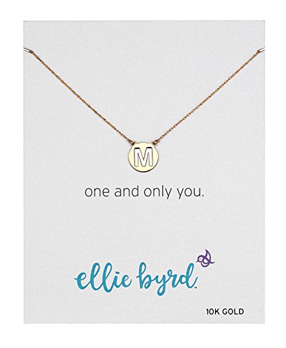 "UPC 716825562004, ellie byrd 10k Gold Two Tone Initial ""M"" Disc Necklace, 18"""