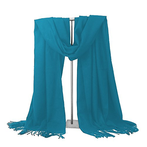Valentine's Day Gift LERDU Ladies Gift Idea Cashmere Scarf Fashion Warm Wool Wrap Shawl Winter Stole for Women Blue