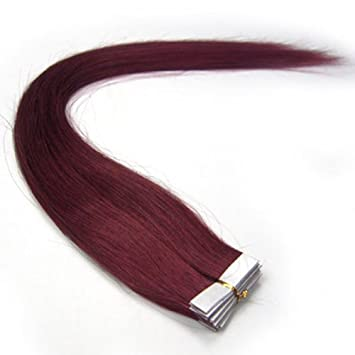 Amazon burgundy tape in human hair extensions 100 remy burgundy tape in human hair extensions 100 remy human hair extensions 20 inches burgundy 20pcs pmusecretfo Choice Image