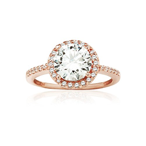 Rose Gold Flashed Sterling Silver Halo Engagement Ring created with Zirconia from Swarovski, Size 8 (Gold And Silver Engagement Rings)