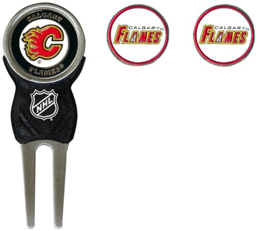 Magnetic Enamel (Team Golf NHL Calgary Flames Divot Tool with 3 Golf Ball Markers Pack, Markers are Removable Magnetic Double-Sided Enamel)
