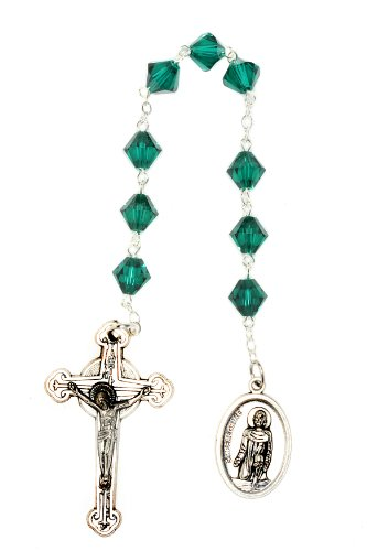 Emerald Crystal Rosary Beads (St. Peregrine Chaplet made with Emerald Green Swarovski Crystal-Cancer Patients Patron Saint (May))