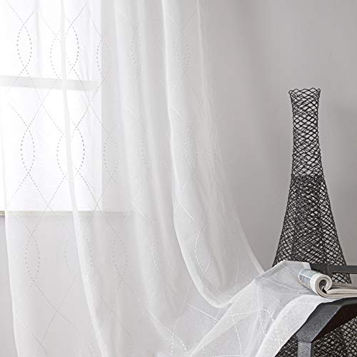VISIONTEX White Sheer Curtains White Dots Embroidery Faux Linen Rod Pocket Curtains for Living Room 54 x 63 Inch, Set of 2 Curtain Panels (White Linen Faux Curtains)