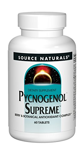 - Source Naturals Pycnogenol Supreme 50mg Berry and Botanical Antioxidant Complex for a Broad Range of Free Radical Protection Packed with 500mg Added Vitamin C - 60 Tablets