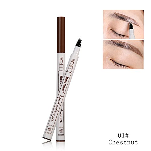 - Music Flower Liquid Tattoo Eyebrow Pen With Four Tips Brow Pen, Long-lasting Waterproof Brow Gel for Eyes Makeup-Chestnut